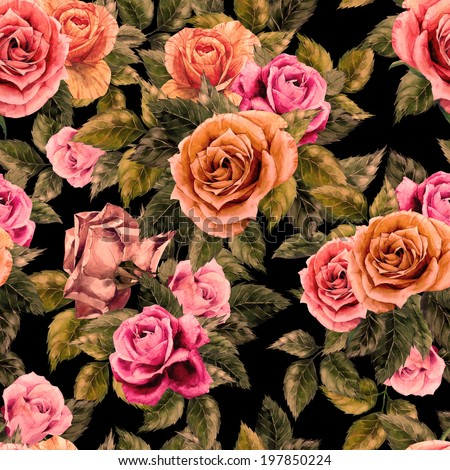 Seamless floral pattern with red, purple and pink roses on black background, watercolor. - stock photo