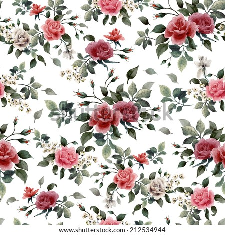 Seamless floral pattern with red, white and pink roses on light background, watercolor. - stock photo