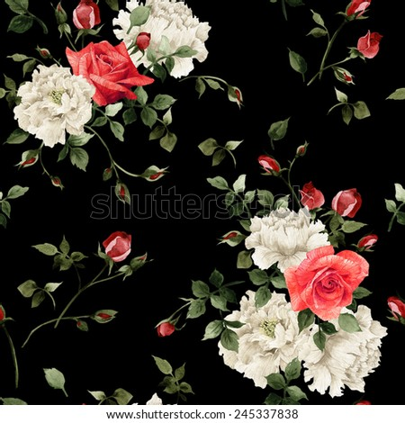 Seamless floral pattern with rose, watercolor.  - stock photo