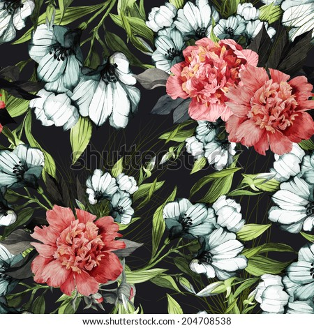 Seamless floral pattern with roses and eustoma on dark background, watercolor. - stock photo