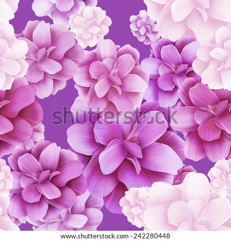 Seamless floral pattern with roses and lights on pink background. Valentine Day special background.