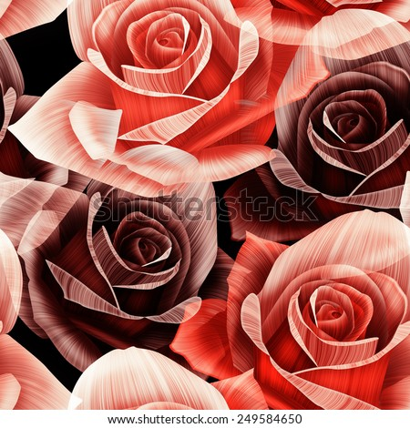 Seamless floral pattern with roses and lights on pink background. Valentine Day special background. - stock photo