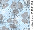 Seamless floral pattern with three leaf clover. Raster version. Vector is also available in my gallery - stock