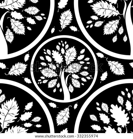 Seamless floral pattern with tree - stock photo