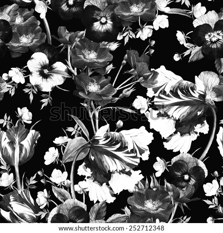 Seamless floral pattern with tulips, pansy, dogrose and buttercup, watercolor  - stock photo