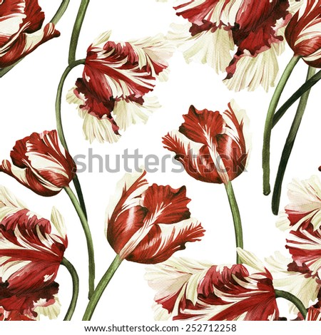 Seamless floral pattern with tulips,  watercolor  - stock photo