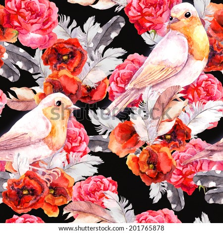Seamless floral pattern with watercolor flowers (poppy, rose) and birds. Watercolour background - stock photo