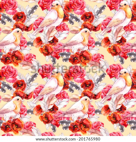 Seamless floral pattern with watercolor flowers (poppy, rose) and birds. Watercolour background