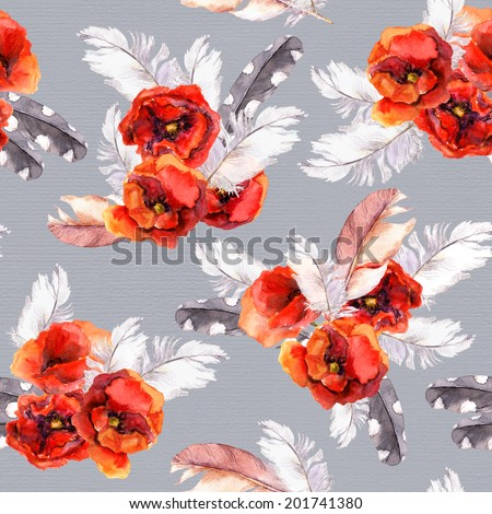 Seamless floral pattern with watercolor flowers (poppy, rose) and feathers. Aquarel background - stock photo