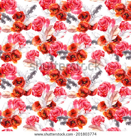 Seamless floral pattern with watercolor flowers (poppy, rose) and feathers. Aquarel background