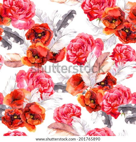 Seamless floral pattern with watercolor flowers (poppy, rose) and feathers. Watercolour background - stock photo