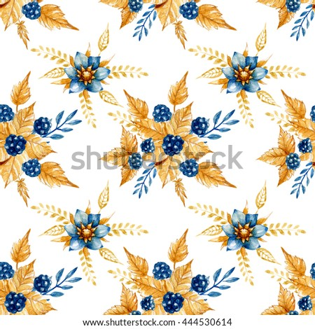 Seamless floral pattern with watercolor indigo flowers and blackberries. Perfect for textile design, wallpaper, cover design and more. - stock photo