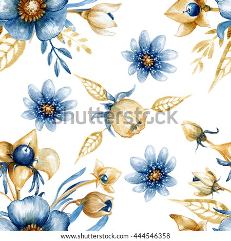 Seamless floral pattern with watercolor indigo flowers. Perfect for textile design, wallpaper, cover design and more. - stock photo