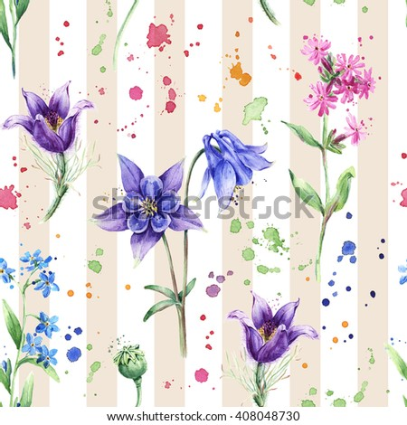 Seamless floral pattern with wild flowers, Columbine flowers on the striped background. Watercolor painting, colorful splashes - stock photo