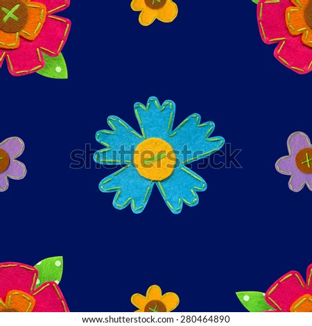 Seamless floral pattern with wildflowers on blue background. Handmade felt flowers. Raster pattern.