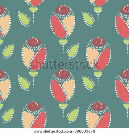 Seamless floral raster pattern. Symmetrical colorful ornamental background with roses. Decorative repeating ornament, Series of Floral and Decorative Seamless Pattern. - stock photo