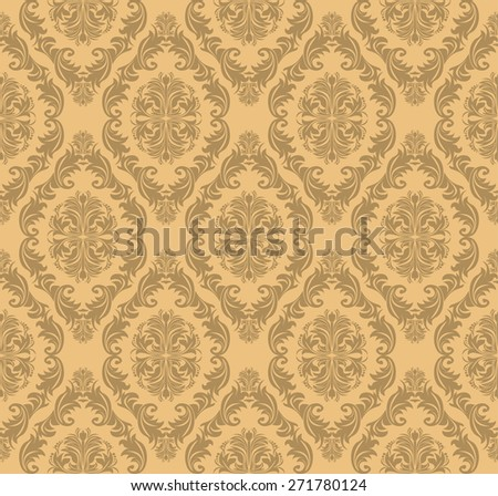 Seamless floral  retro Wallpaper for design.  Raster version. - stock photo
