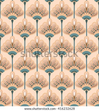 Seamless Flower  Buttercup  Pattern. Summer background garden. Art deco style
