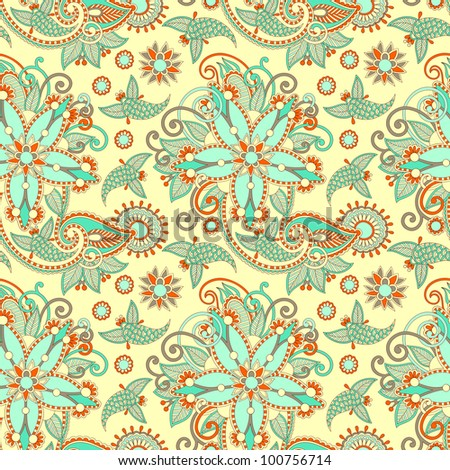 seamless flower paisley design background. Raster version - stock photo