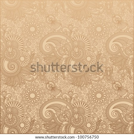 seamless flower paisley design background. Raster version
