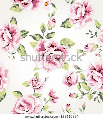 seamless flower pattern background - stock photo