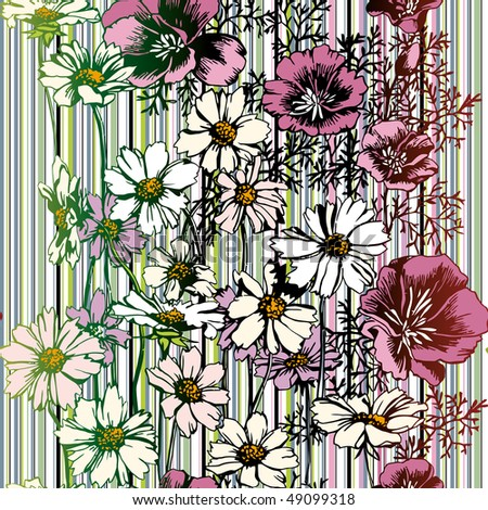 Seamless Flower Pattern, raster version - stock photo