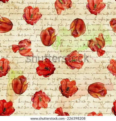 Seamless flower pattern with red watercolor tulips in old watercolor paper background with imitation of handwritten text. - stock photo