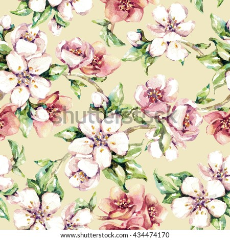 Seamless flowers pattern. Beautiful tender soft watercolor branches of cherry blossoms. Light beige background - stock photo