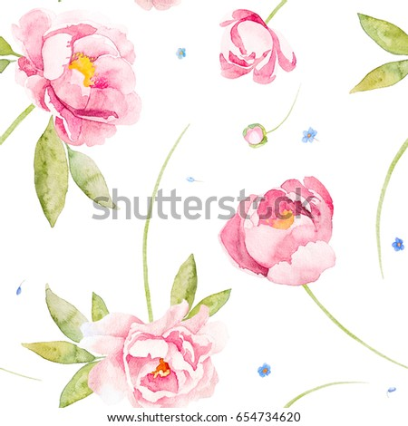 Seamless Flowers Pink Peony Rose And Wildflower Forget Me Not On A White Backgroundwatercolor