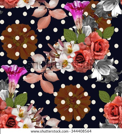 Seamless flowers with polka-dot; roses with lily and zinnia on Navy blue background, mixed vintage - stock photo