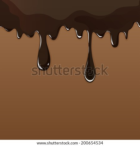 Seamless flowing melted chocolate dripping isolated on brown background. - stock photo