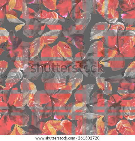 seamless foliage pattern with red flowers hibiscus, watercolor illustration plants on dark background, black and white foliage, watercolor floral pattern for shirt men, plaid - stock photo