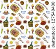 Seamless food pattern on the white background - stock photo