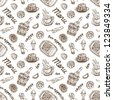 Seamless food pattern on white background. Vintage style - stock photo
