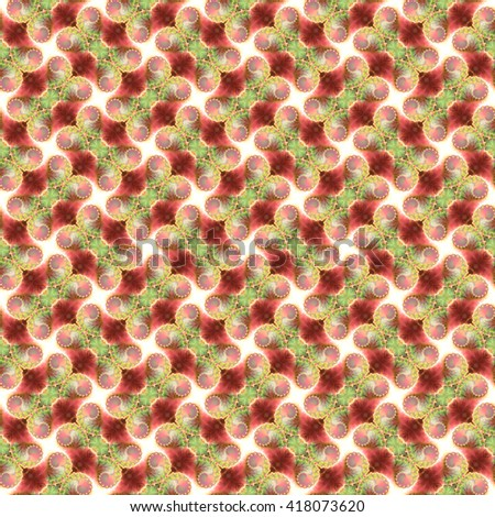 Seamless fractal pattern, cream-green. Abstract bright wall-paper, a print for fabric, decorative textiles, packing paper, etc. - stock photo