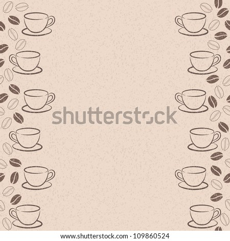 Seamless frame with coffee beans and cups - stock photo