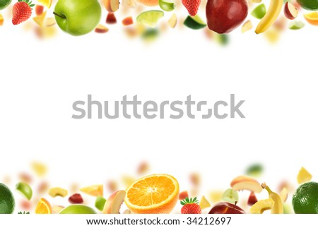 Seamless fruit pattern with copyspace in the middle - stock photo
