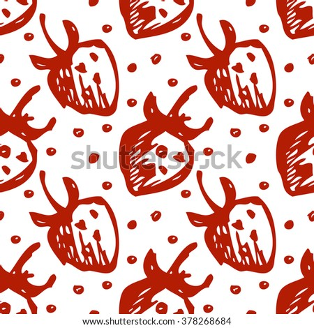 Seamless fruits raster pattern, bright background with close up strawberries on the white backdrop. Hand sketch drawing. Imitation of ink drawing. Series of Fruits and Hand Drawn Patterns. - stock photo