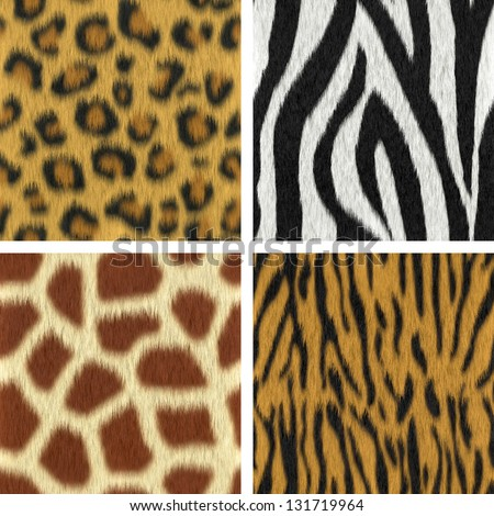 Seamless fur textures : leopard, zebra, giraffe, tiger (3D render) - stock photo