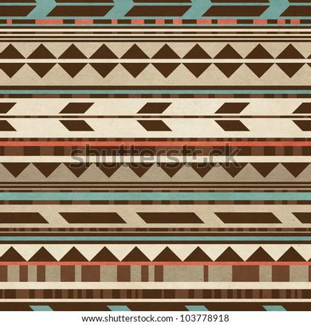Seamless geometric background. Traditional folk pattern on paper texture. - stock photo
