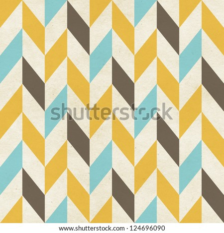 Seamless geometric chevron pattern on paper texture - stock photo
