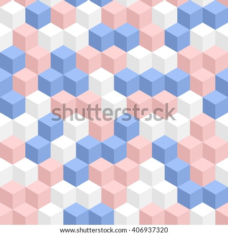 Seamless geometric 3d pattern in trendy colors: serenity and rose quarz. Modern pattern with volume cubes. Raster version - stock photo