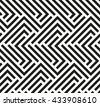 Seamless geometric pattern by stripes. Modern background with repeating lines. Black and white wallpaper - stock vector