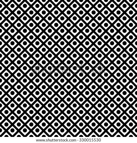Seamless geometric pattern diagonal criss-crossing black lines and black circles on a white background. Monochrome. Black and white illustration.