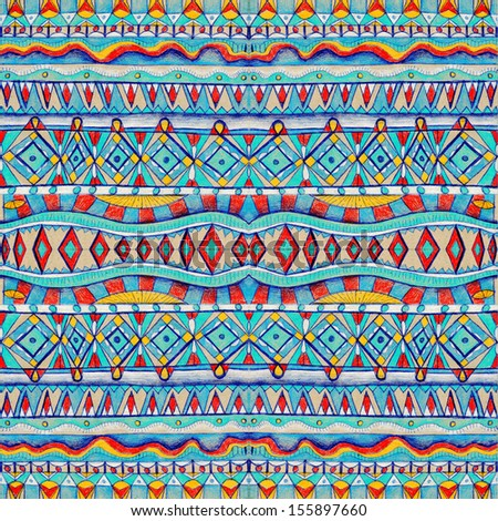 Seamless geometric pattern in aztec style. Tribal ethnic texture. Raster illustration hand drawn. - stock photo