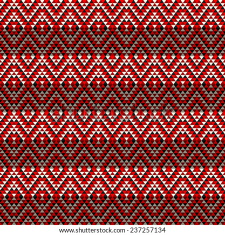 Seamless geometric pattern in red tones - stock photo