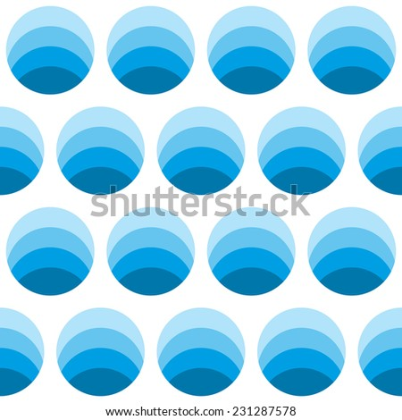 Seamless geometric pattern of circles in different shades of blue stripes located. - stock photo