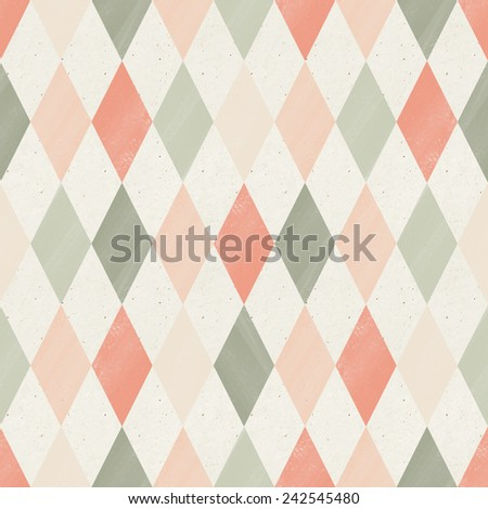 Seamless geometric pattern on paper texture. Argyle background - stock photo