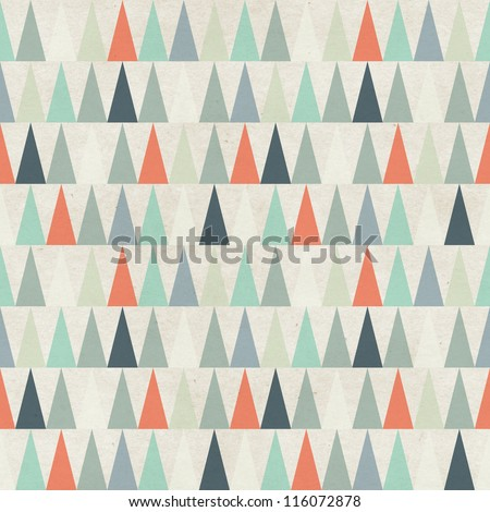 Seamless geometric pattern on paper texture. Winter/fall forest background - stock photo