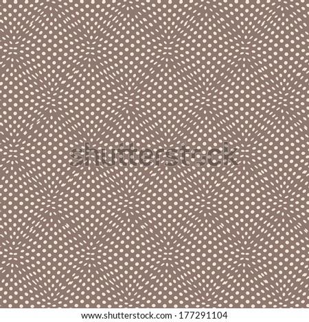 Seamless geometric pattern, wavy dots.  texture with illusion. - stock photo